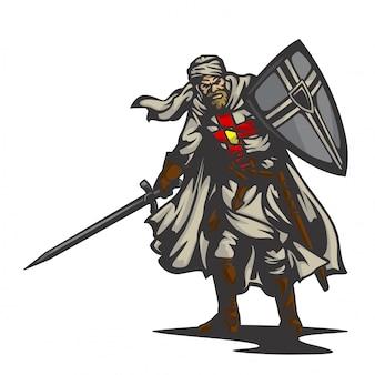 Vetor de cavaleiro templário