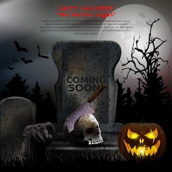 Vetor de cemitério assustador de halloween