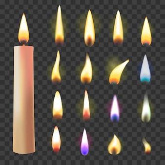 Vetor de chama de vela disparada à luz de velas em chamas e ilustração de luz de fogo inflamável