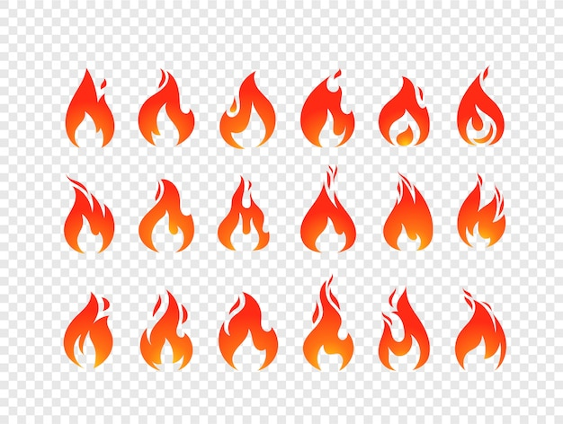 Vetor de chamas ardentes conjunto isolado em fundo transparente