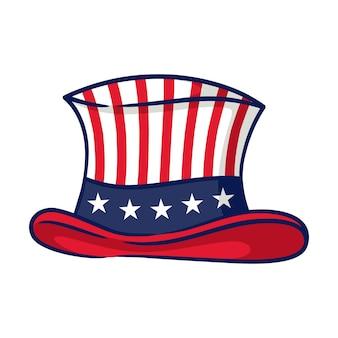 Vetor de chapéu mágico. chapéu de cavalheiro vintage com motivo americano