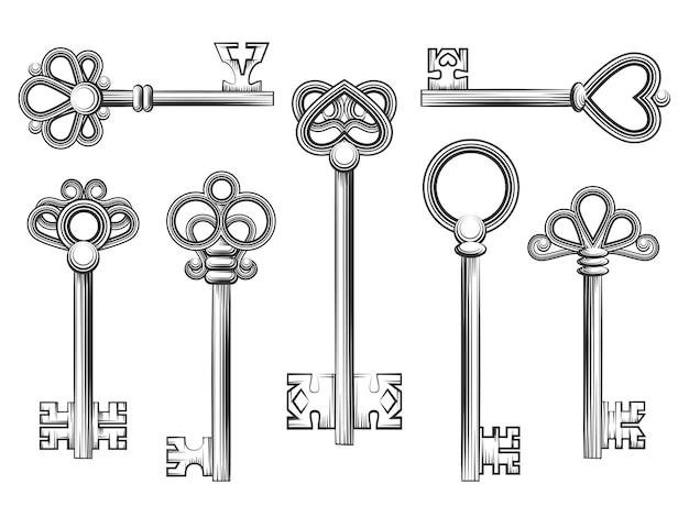 Vetor de chave vintage definido em estilo de gravura. coleção de antiguidades com design retro de segurança