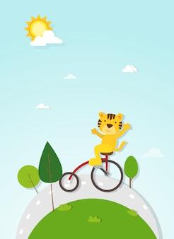 Vetor de ciclista de tigre