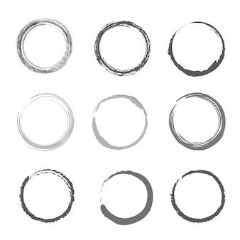 Vetor de círculos de traçado de pincel conjunto com tinta