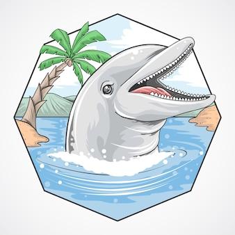 Vetor de coco de praia de golfinho de verão