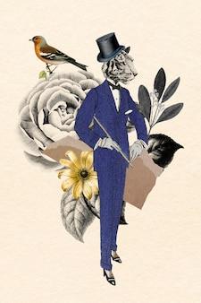 Vetor de colagem digital, ilustração vintage arte de mídia mista