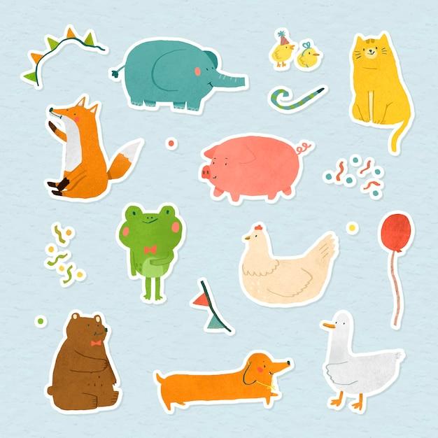 Vetor de coleção de adesivos de animais festivos desenhado à mão