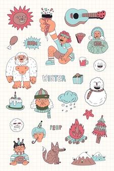 Vetor de coleção de adesivos de personagens de inverno desenhado à mão