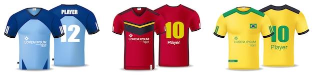 Vetor de coleção de camisetas de futebol