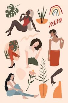 Vetor de coleção de influenciadores de mídia social feminina
