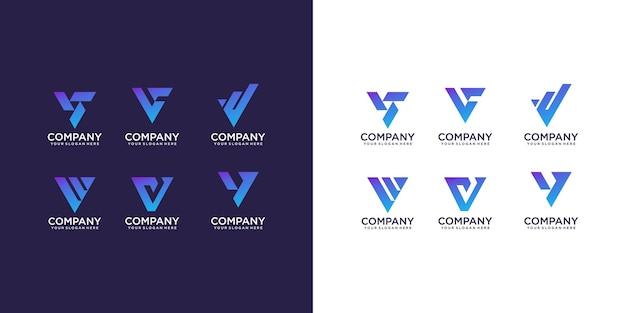 Vetor de coleção de logotipo da letra v
