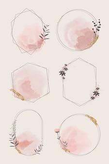 Vetor de coleção de moldura floral geométrica