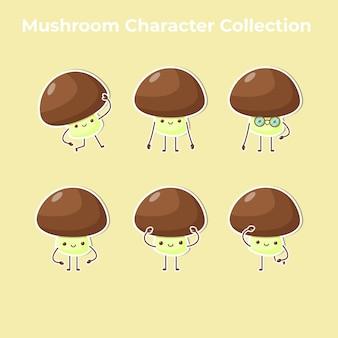 Vetor de coleção de personagem cogumelo fofo