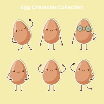 Vetor de coleção de personagem ovo fofo