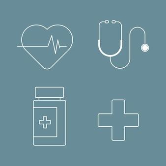 Vetor de coleção de vetor de 19 ícones cobertos de medicina e saúde