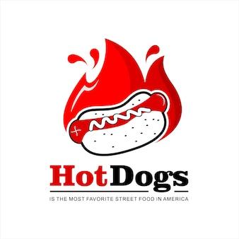 Vetor de comida de rua com logotipo de cachorro-quente