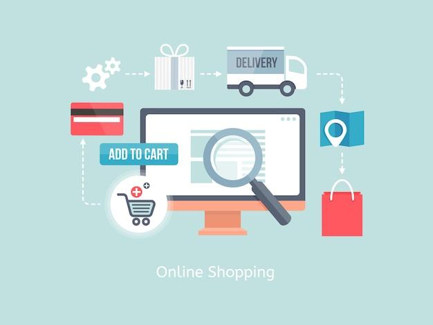 Vetor de compra on-line e conceito de comércio eletrônico com ícones