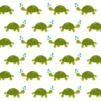 Vetor de conceito animal subaquático tartaruga padrão sem emenda