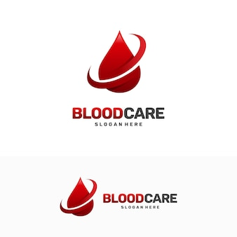 Vetor de conceito de design de logotipo blood care, modelo de design de logotipo blood shield, símbolo, ícone
