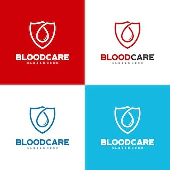 Vetor de conceito de design de logotipo blood shield, modelo de design de logotipo blood care com variação de cor