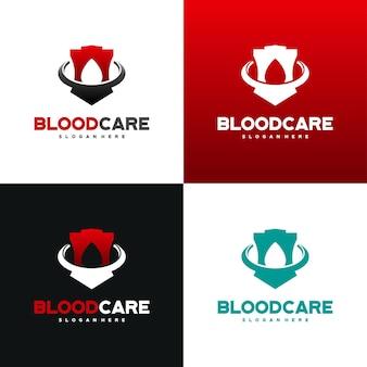 Vetor de conceito de design de logotipo blood shield, modelo de design de logotipo blood care com variação de cor Vetor Premium