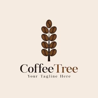 Vetor de conceito de design de logotipo de árvore de café