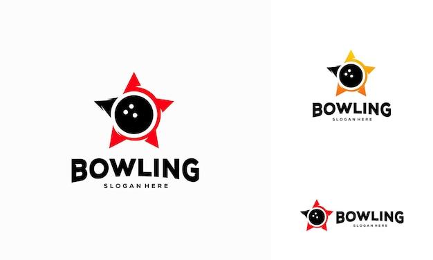Vetor de conceito de design de logotipo de boliche, conceito de logotipo star bowling