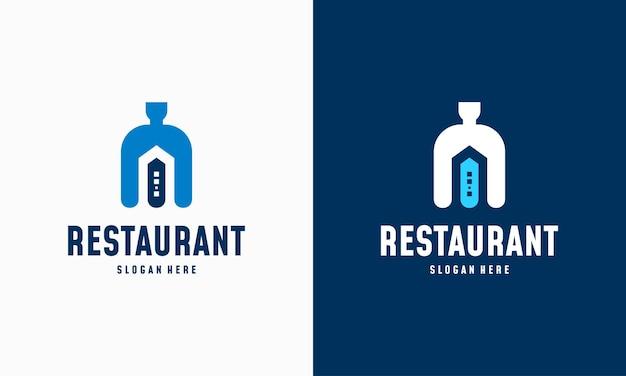 Vetor de conceito de design de logotipo de casa de comida moderna, ícone de símbolo de logotipo de restaurante