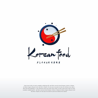 Vetor de conceito de design de logotipo de comida coreana