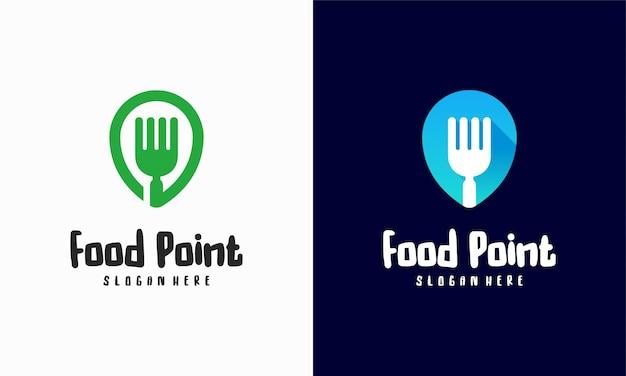 Vetor de conceito de design de logotipo de food point, ilustração de modelo de design de logotipo de restaurante