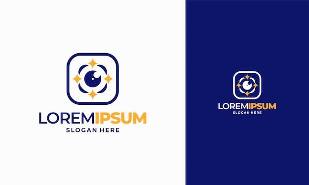 Vetor de conceito de design de logotipo de fotografia brilhante, símbolo de ícone de modelo de logotipo de câmera espumante