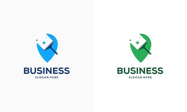 Vetor de conceito de design de logotipo de ponto de serviço de limpeza, ícone de símbolo de logotipo de ponteiro e ferramenta de limpeza