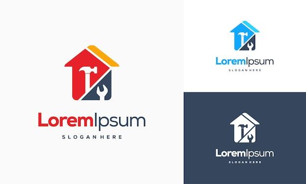 Vetor de conceito de design de logotipo de serviços domésticos, modelo de logotipo de reparo doméstico, símbolo de logotipo de serviço doméstico