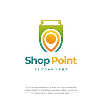 Vetor de conceito de design de logotipo de shop point, modelo de design de logotipo de loja local, ícone de símbolo de logotipo
