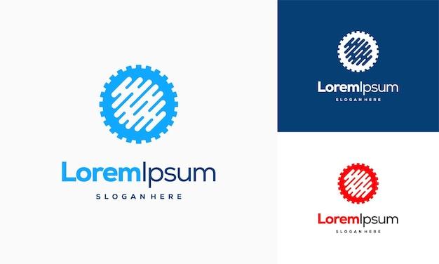 Vetor de conceito de design de logotipo gear tech, logotipo techno gear símbolo mecânico