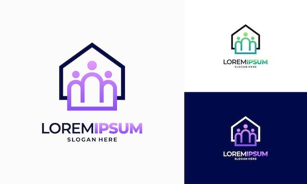 Vetor de conceito de design de logotipo moderno outline property community, modelo de logotipo de comunidade imobiliária