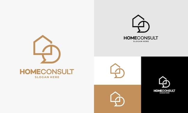 Vetor de conceito de design de logotipo property consult, modelo de logotipo house consulting agent, símbolo de logotipo imobiliário