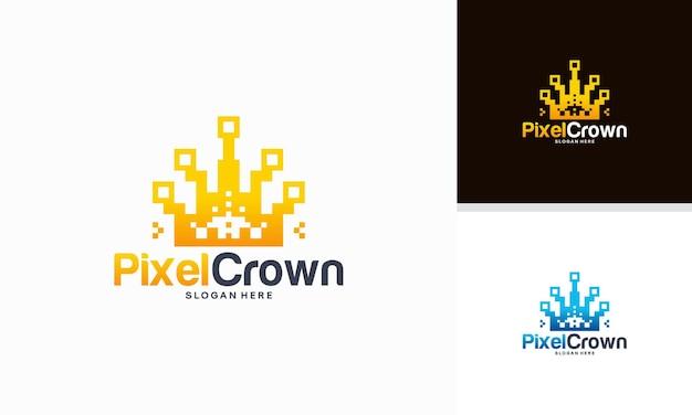 Vetor de conceito de designs de logotipo pixel crown, rei do vetor de design de logotipo digital, logotipo para tecnologia
