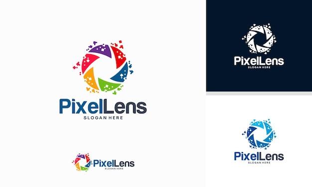 Vetor de conceito de designs de logotipo pixel lens, modelo de logotipo lens technology