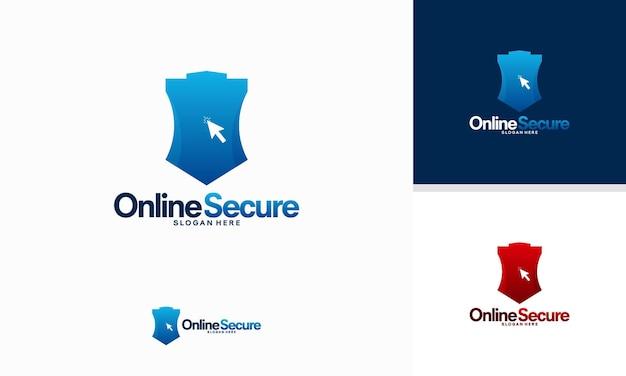 Vetor de conceito de designs de logotipo seguros on-line, designs de modelos de logotipo cursor e shield