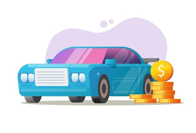 Vetor de conceito de dinheiro de veículo de carro, ideia de preço de imposto automotivo, custo de despesas de automóvel ou leasing de empréstimo