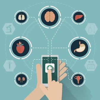 Vetor de conceito de ícones de rede móvel médica