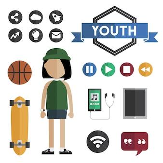 Vetor de conceito de juventude