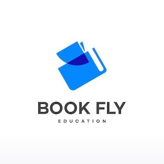 Vetor de conceito de projetos de logotipo book fly, ícone de logotipo book education