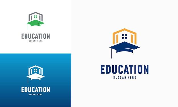 Vetor de conceito de projetos de logotipo de aprendizagem em casa. modelo de logotipo de educação domiciliar, símbolo imobiliário