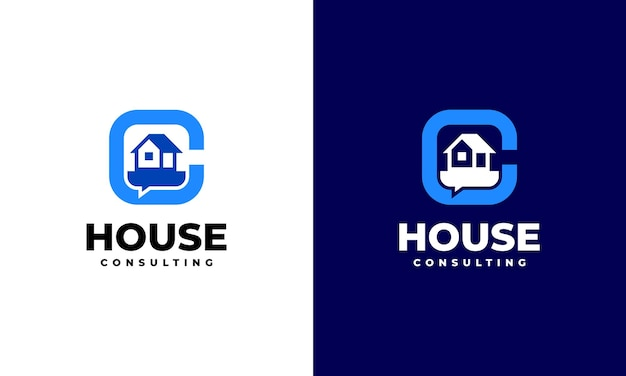 Vetor de conceito de projetos de logotipo de consultoria de propriedade, modelo de logotipo de consultar em casa