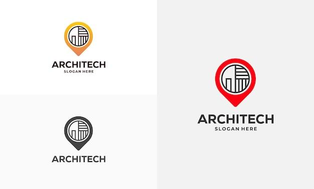Vetor de conceito de projetos de logotipo de ponto de casa de construção, ícone de símbolo de modelo de logotipo de construção, símbolo de logotipo de imóveis