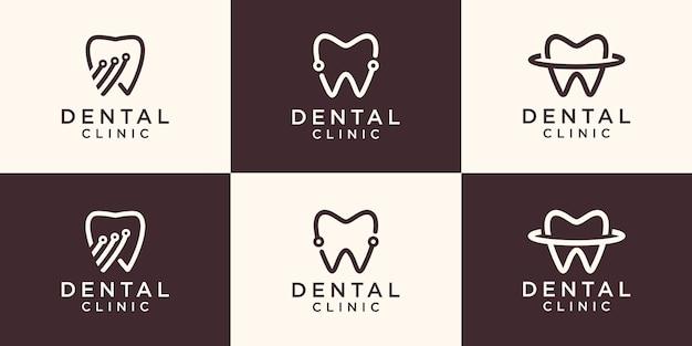 Vetor de conceito de projetos de logotipo de tecnologia dental, modelo de projetos de logotipo dental.