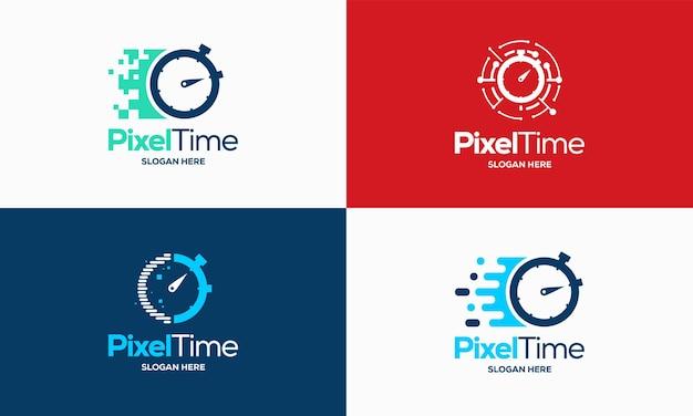 Vetor de conceito de projetos de logotipo de tempo de pixel, símbolo de design de logotipo de cronômetro de tecnologia, ícone, vetor de modelo