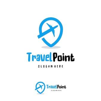 Vetor de conceito de projetos de logotipo de travel point, símbolo de logotipo de destino de viagem, ícone